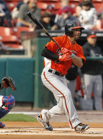 Brian Roberts returns to the Baltimore Orioles lineup after a concussion sustained sliding into first base kept him since May 16, 2011. (AP Photo/The Buffalo News, Harry Scull Jr.)