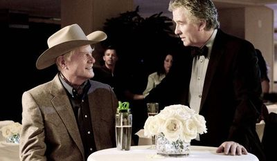 "TNT Reprising their ""Dallas"" roles in the remake are rivals Larry Hagman (left) as J.R. Ewing and Patrick Duffy as brother Bobby Ewing. The new series premieres Wednesday on TNT."