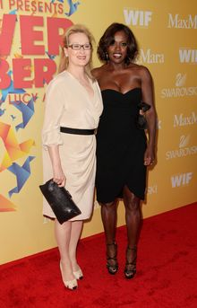 This Tuesday, June 12, 2012 photo shows actresses Meryl Streep, left, and Viola Davis at the Women In Film Crystal + Lucy Awards at the Beverly Hilton Hotel in Beverly Hills, Calif. (Photo by Todd Williamson/Invision/AP)