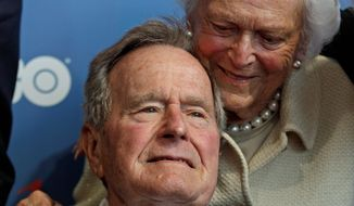 "**FILE** Former President George H.W. Bush and wife Barbara arrive for the premiere of HBO's new documentary about his life, ""41,"" near the Bush family's summer home in Kennebunkport, Maine, on June 12, 2012, Mr. Bush's 88th birthday. (Associated Press)"