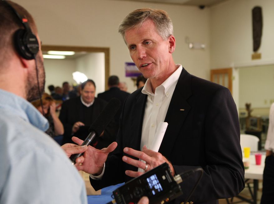 Maine Secretary of State Charlie Summers (center) is interviewed on Tuesday, June 12, 2012 in South Portland, Maine, as he waits for election returns in his bid to win the Republican nomination to fill the seat being vacated by Sen. Olympia J. Snowe, a Republican. (AP Photo/Joel Page)