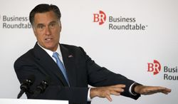 Republican presidential candidate and former Massachusetts Gov. Mitt Romney speaks June 13, 2012, during the Business Roundtable quarterly meeting at the Newseum in Washington. (Associated Press)