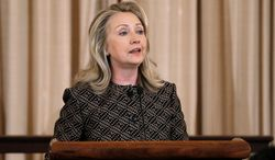 ** FILE ** In this June 12, 2012 photo, Secretary of State Hillary Rodham Clinton speaks at the State Department in Washington. Clinton's charge that Russia is sending attack helicopters to Syria has escalated the war of words between the former Cold War foes, precisely when Washington had hoped to court Moscow's support for a transition plan to end the Assad regime. (AP Photo/Pablo Martinez Monsivais, File)