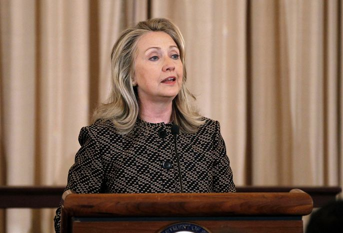 ** FILE ** In this June 12, 2012 photo, Secretary of State Hillary Rodham Clinton speaks at the State Department in Washington. Clinton's charge that Russia is sending attack helicopters to Syria has escalated the war of words between the former Cold War foes, precisely when Washington had hoped to court Mo