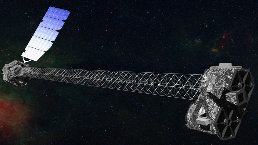 An artist's rendering depicts NASA's latest X-ray telescope, dubbed NuStar, which was launched on a two-year mission on Wednesday, June 13, 2012, from the Kwajalein Atoll in the Pacific to study black holes and other celestial objects. (AP Photo/NASA)