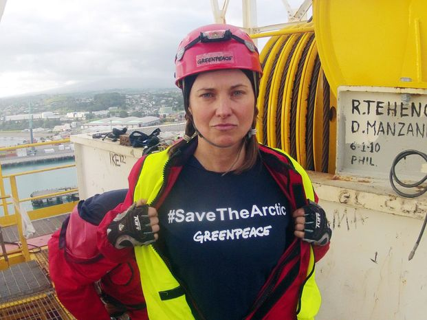 "Actress Lucy Lawless says she has ""no regrets"" about stopping an Arctic-bound oil-drilling ship from leaving a New Zealand dock. (Greenpeace via Associated Press)"