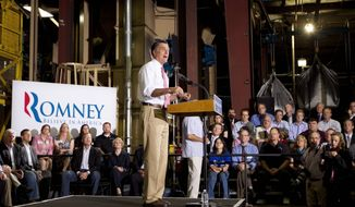 Former Massachusetts Gov. Mitt Romney, the presumptive Republican presidential nominee, delivers a stump speech during a campaign stop at Seilkop Industries in Cincinnati on Thursday. (Associated Press)