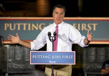 "Former Massachusetts Gov. Mitt Romney, the presumptive Republican presidential nominee, delivers a stump speech during a campaign stop at Seilkop Industries in Cincinnati on Thursday. Mr. Romney slammed the president's record on handling the economy, accusing the president of being ""long on words and short on action."" (Associated Press)"