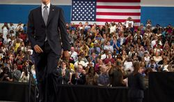 President Obama prepares to speak at Cuyahoga Community College in Cleveland on Thursday. (Associated Press)
