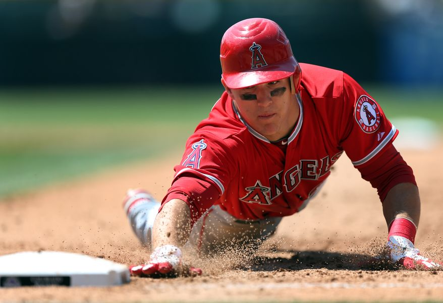 Twenty-year-old rookie Mike Trout is batting .341 with a .401 on-base percentage, .541 slugging percentage and 16 stolen bases. (AP Photo/Jack Dempsey)