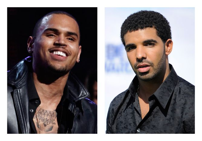 This combination of 2012 and 2011 file photos shows R&B star Chris Brown (left) and rapper Drake. New York City police investigated a report June 14, 2012 of a bar brawl involving the two and their entourages in which bottles flew and five people were injured. (Associated Press)