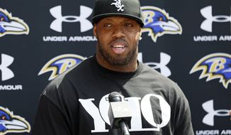 Baltimore Ravens linebacker Terrell Suggs speaks at a news conference at the team's practice facility in Owings Mills, Md., on Thursday, June 14, 2012. The AP NFL Defensive Player of the Year in 2011 is recovering from a torn Achilles tendon and hopes to return in time for next season. (AP Photo/Patrick Semansky)
