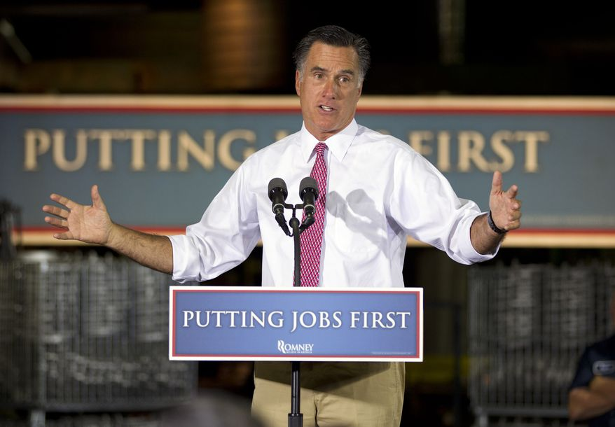 Republican presidential candidate and former Massachusetts Gov. Mitt Romney speaks June 14, 2012, during a campaign event at Seilkop Industries in Cincinnati, Ohio. (Associated Press)