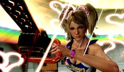 Juliet Starling cuts up zombies in the most colorful ways possible in the video game Lollipop Chainsaw.