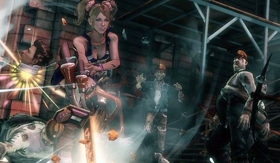 Juliet Starling gets help from her boyfriend Nick the head in the video game Lollipop Chainsaw.