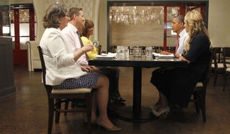 "President Obama eats lunch June 15, 2012, with Wyndi Austin, Paula Matyas, Jim Heath and Janet Jones, the four winners of the ""Lunch with Barack"" raffle, at the Lincoln Restaurant in Washington. (Associated Press)"