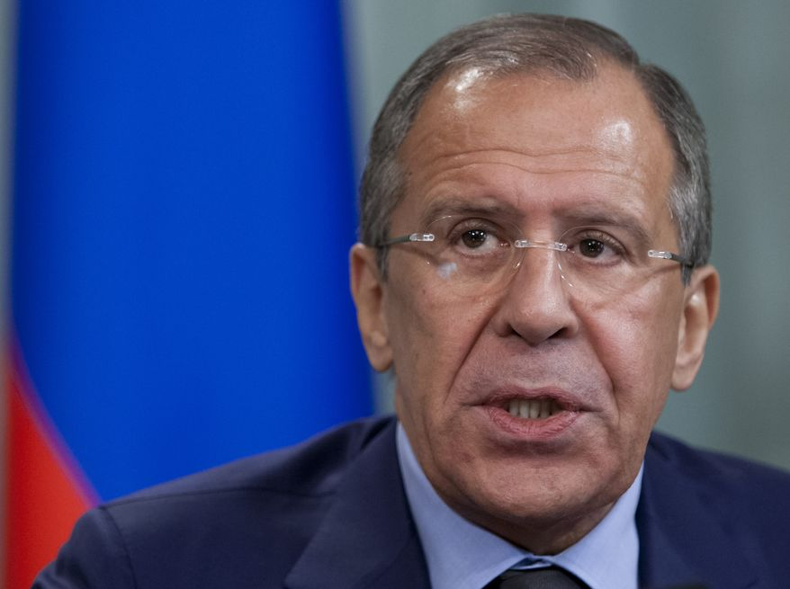 Russian Foreign Minister Sergey Lavrov speaks June 15, 2012, at a news conference in Moscow. (Associated Press)