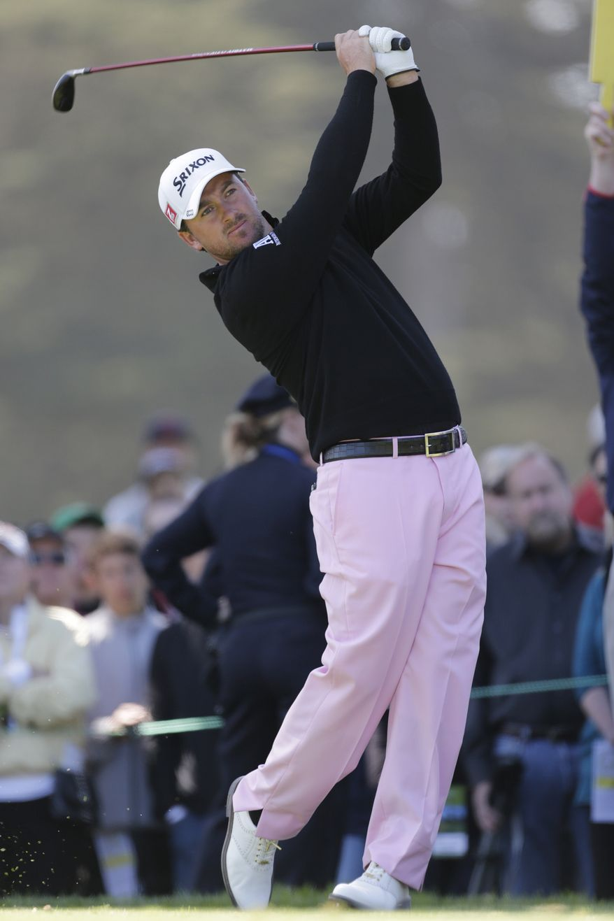 Graeme McDowell, shown during the second round of the U.S. Open Championship golf tournament Friday, June 15, 2012, at The Olympic Club in San Francisco, is two strokes behind leader Michael Thompson. (AP Photo/Eric Gay)