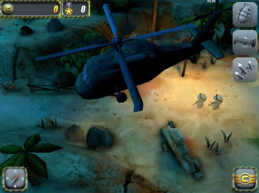 Pint-size, big-eyed soldiers land and attack the enemy in the iPad game Tiny Troopers.