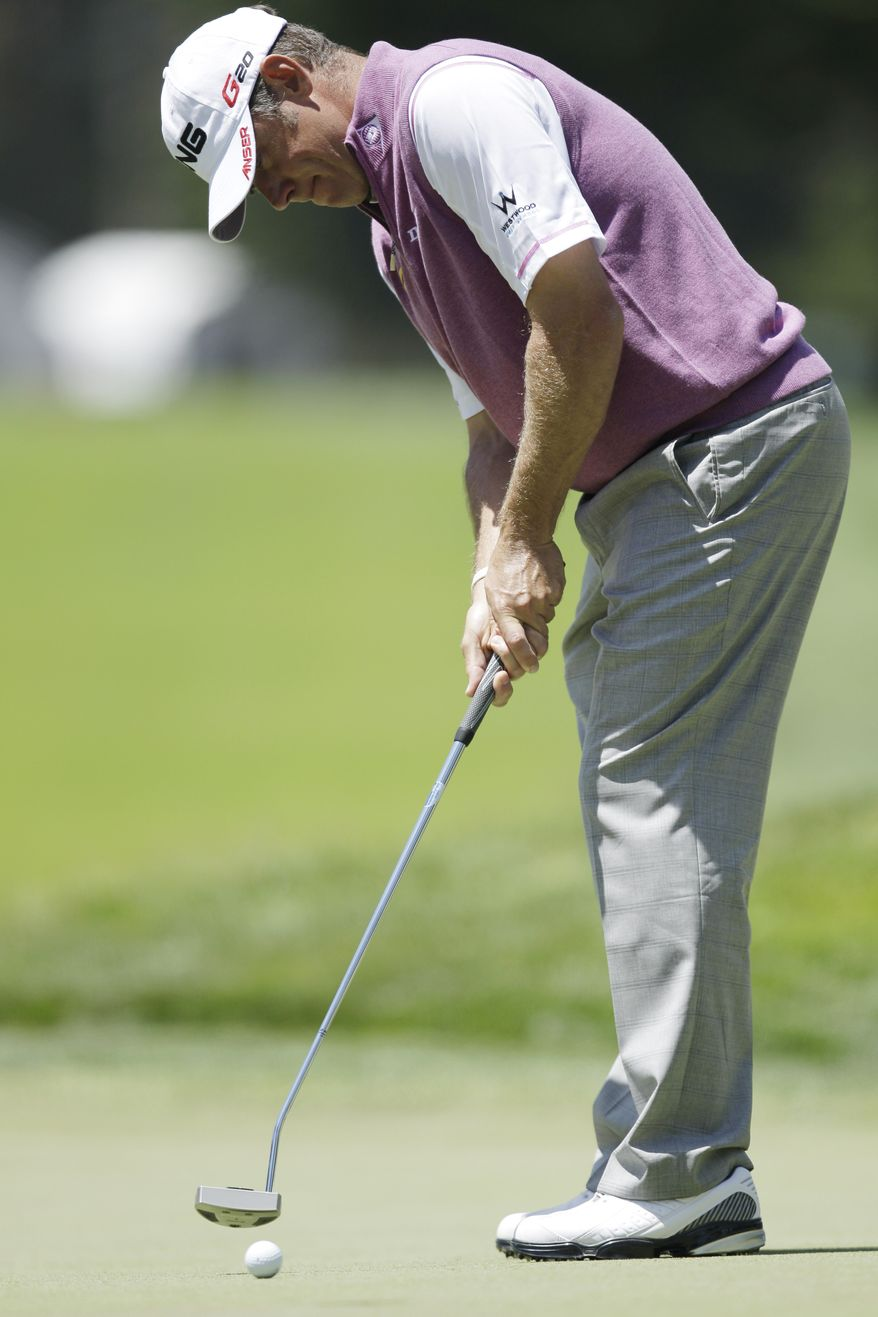 Lee Westwood, of England, during the third round of the U.S. Open Championship on Saturday, June 16, 2012, at The Olympic Club in San Francisco. (AP Photo/Ben Margot)