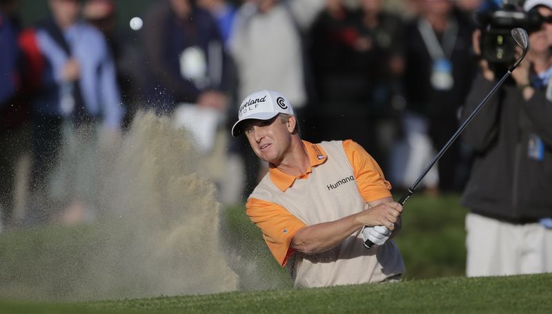 David Toms hits from a bunker on the 17th hole during the second round of the U.S. Open Championship on Friday, June 15, 2012, at The Olympic Club in San Francisco. (AP Photo/Eric Gay)