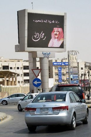 Crown Prince Nayef Abdul-Aziz is seen on a screen in Riyadh, Saudi Arabia, on Sunday. He was the second heir to the throne to die outside the country in less than a year. (Associated Press)