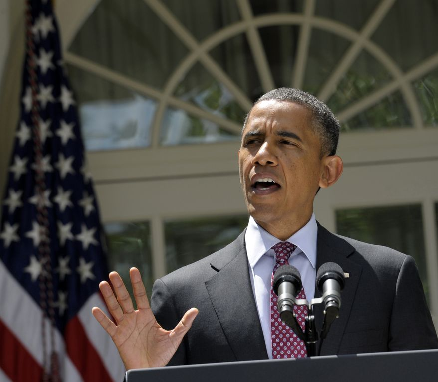 **FILE** President Obama announces June 15, 2012, his administration's immigration plans in the Rose Garden of the White House. (Associated Press)