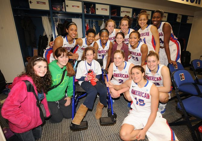 Kayla Wenger and the American women's basketball team bonded through the Friends of Jaclyn Foundation, an organization that matches children with brain tumors with college athletic teams. Kayla was the Eagles' ultim