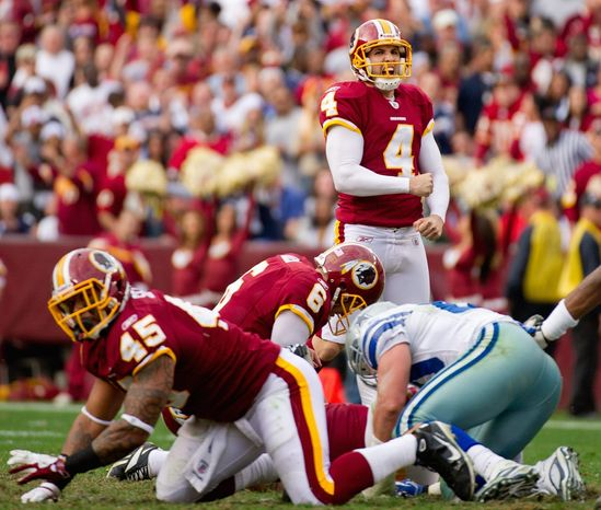 Redskins kicker Graham Gano set a franchise record when he kicked a 59-yard field goal in a 19-11 loss to San Francisco at FedEx Field on Nov. 6. (Andrew Harnik/The Washington Times)