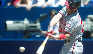 Outfielder Bryce Harper, who made his major league debut April 28, is leading the Nationals in batting with a .294 average. (Associated Press)