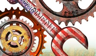 Illustration Government Wrench by Alexander Hunter for The Washington Times