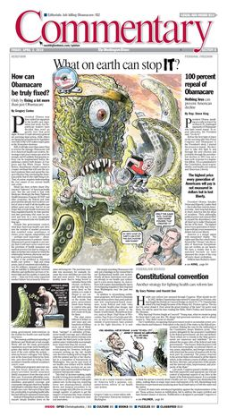 A Washington Times' Commentary front page from April 2, 2010, featuring a car