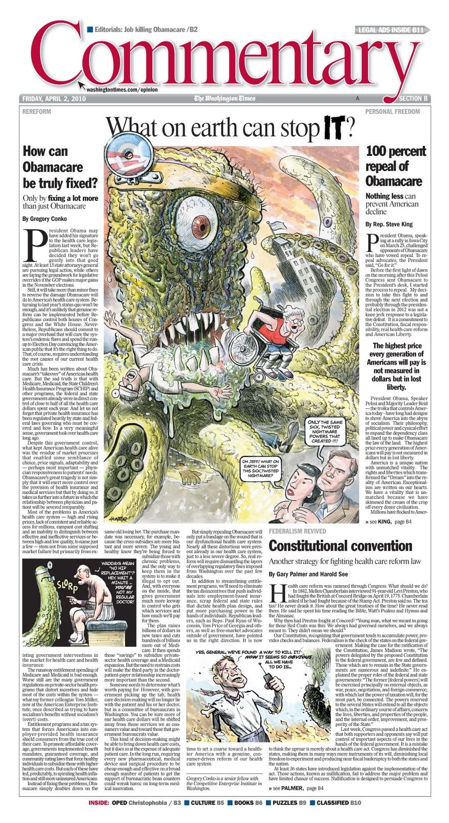 A Washington Times' Commentary front page from April 2, 2010, featuring a cartoon from Alex Hunter.
