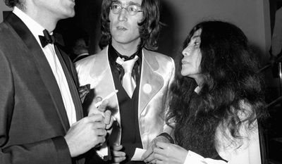 """FILE In this file photo of June 18, 1968 Victor Spinetti talks with John Lennon and Yoko Ono in London. Victor Spinetti, a comic actor who appeared in three Beatles movies and won a Tony on Broadway, has died, his agent said Tuesday June 19, 2012. He was 82. Spinetti died Tuesday morning June 19, 2012 after suffering from cancer for several years, said Barry Burnett, the actor's close friend and agent. Spinetti won a Tony award in 1965 for his Broadway performance in """"Oh, What a Lovely War,"""" but became most well-known for his appearances in the Beatles movies """"A Hard Day's Night,"""" ''Help,"""" and """"Magical Mystery Tour."""" (AP Photo/ PA Wire)"""