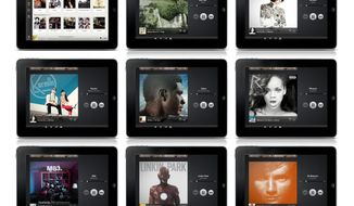 Spotify displays music artwork on its mobile app. The music-subscription company is offering a free radio service for mobile devices. (Spotify Radio via Associated Press)