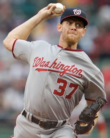 Stephen Strasburg has worked 77 innings, compiling an 8-1 record and 2.45 ERA for the NL East-leading Nationals. He'll take the mound Wednesday against Tampa Bay. (Associated Press)