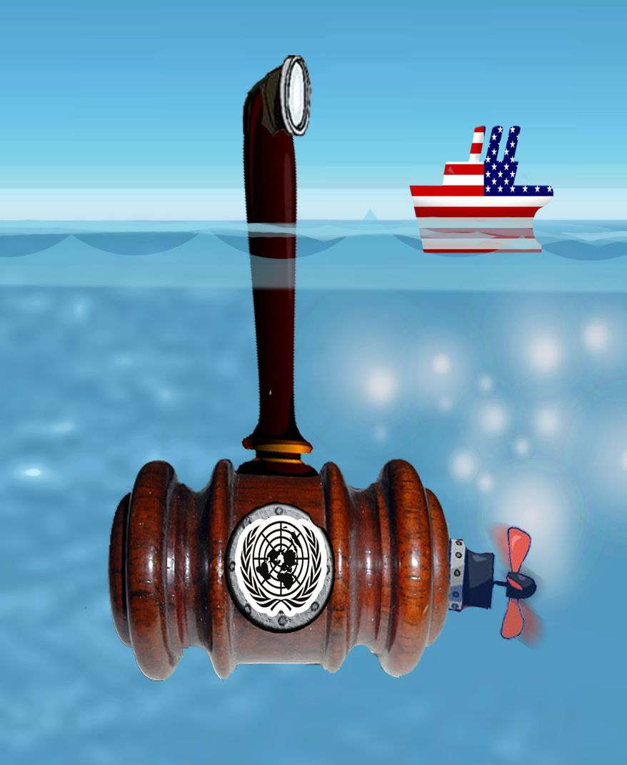 Illustration U.N. Treaty by John Camejo for The Washington Times