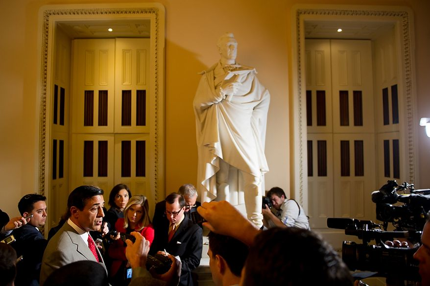 Rep. Darrell E. Issa, California Republican and chairman of the House Oversight and Government Reform Committee, speaks to the media after meeting with Attorney General Eric H. Holder at the U.S. Capitol in Washington on Tuesday, June 19, 2012, to try to reach an agreement on obtaining documents from the Justice Department about the botched anti-gunrunning Fast and Furious operation. (Andrew Harnik/The Washington Times)