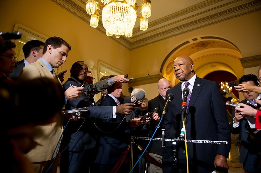 Rep. Elijah E. Cummings, Maryland Democrat and ranking member on the House Oversight and Government Reform Committee, speaks to the media at the U.S. Capitol in Washington on Tuesday, June 19, 2012, after Rep. Darrell E. Issa, California Republican and committee chairman, met with Attorney General Eric H. Holder Jr. to try to reach an agreement on obtaining documents from the Justice Department on the botched anti-gunrunning operation known as Fast and Furious. (Andrew Harnik/The Washington Times)