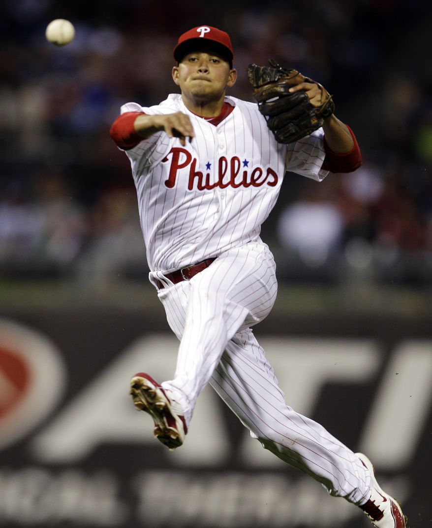 Philadelphia Phillies second baseman Freddy Galvis has been suspended 50 games by Major League Baseball for testing positive for a metabolite of Clostebol, a performance-enhancing substance, the league announced on Tuesday, June 19. (AP Photo/Matt Slocum, File)