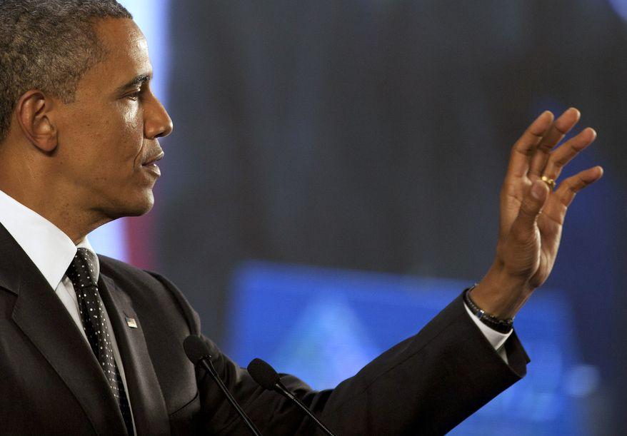 President Obama speaks during a press conference of the G20 summit in Los Cabos, Mexico, Tuesday, June 19, 2012. (AP Photo/Esteban Felix)