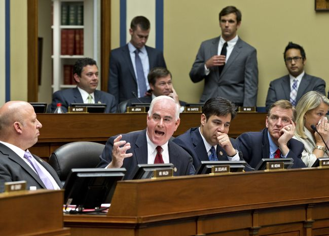 Rep. Pat Meehan (second from left), Pennsylvania Republican, calls June 20, 2012, on Capitol Hill for the release of additional Justice Department documents as the House Oversight and Government Reform Committee considers whether to hold Attorney General Eric Holder in contempt of Congress. (Associated Press)
