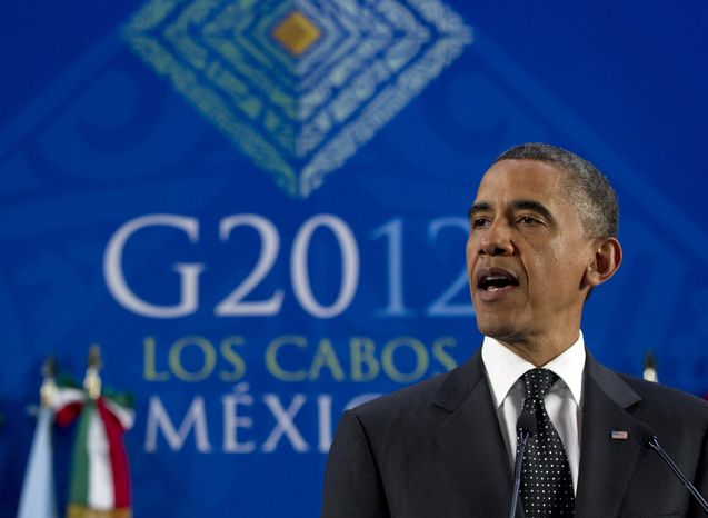 President Obama speaks June 19, 2012, during a news conference at the G-20 Summit in Los Cabos, Mexico. (Associated Press)