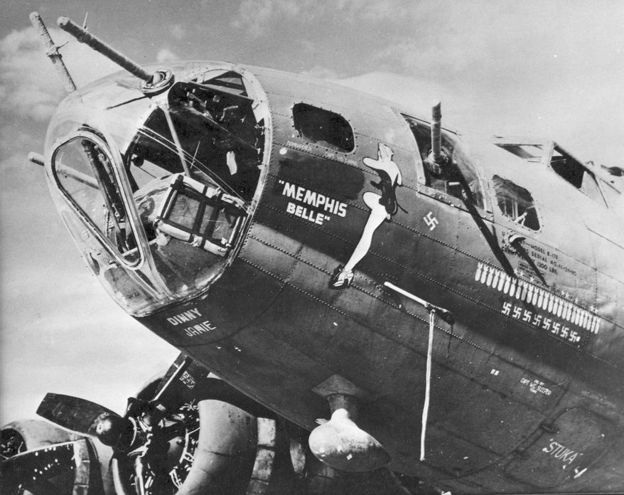 The B-17F Memphis Belle is shown in an undated photo with its clear plastic nose cone visible. (U.S. Air Force photographs via Associated Press)