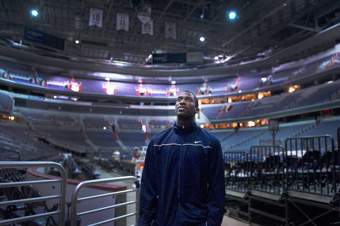Michael Kidd-Gilchrist, shown at Verizon Center after working out for the Wizards, averaged 11.9 points and 7.4 rebounds in helping lead Kentucky to the NCAA championship in April. He's expected to be among the top picks in the NBA draft June 28. (Preston Keres/Special to The Washington Times)