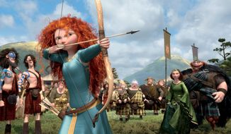 "Merida, the princess-heroine of ""Brave,"" would rather perfect her archery than behave as her mother, the queen, wants. Their changing relationship brightens the film. (Associated Press)"