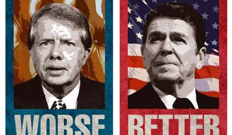 Illustration Carter vs. Reagan by Greg Groesch for The Washington Times