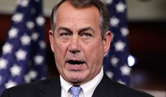 House Speaker John Boehner, Ohio Republican, defends the contempt of Congress vote against Attorney General Eric Holder during a news conference June 21, 2012, on Capitol Hill. (Associated Press)
