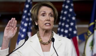 House Minority Leader Nancy Pelosi, D-Calif., takes questions about the contempt of Congress vote against Attorney General Eric Holder in the Republican-controlled House Oversight Committee, during a news conference on Capitol Hill in Washington, Thursday, June 21, 2012. (AP Photo/J. Scott Applewhite)