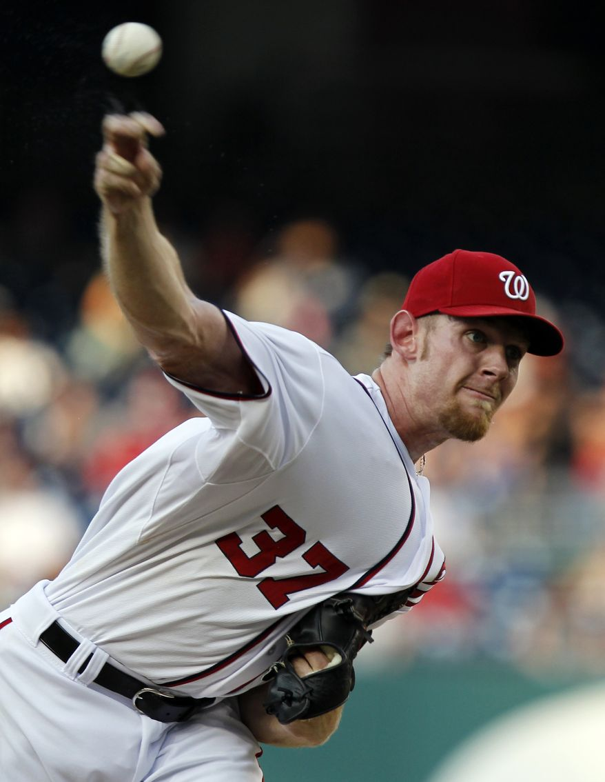 Washington Nationals starting pitcher Stephen Strasburg struck out 10 in seven innings of his team's 3-2 win over the Tampa Bay Rays on Wednesday night. (AP Photo/Alex Brandon)